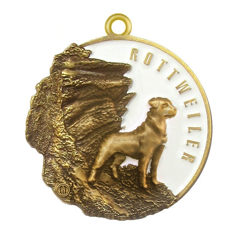 Rottweiler Dog Id Tag Antique Gold Finish - Tags4Tails