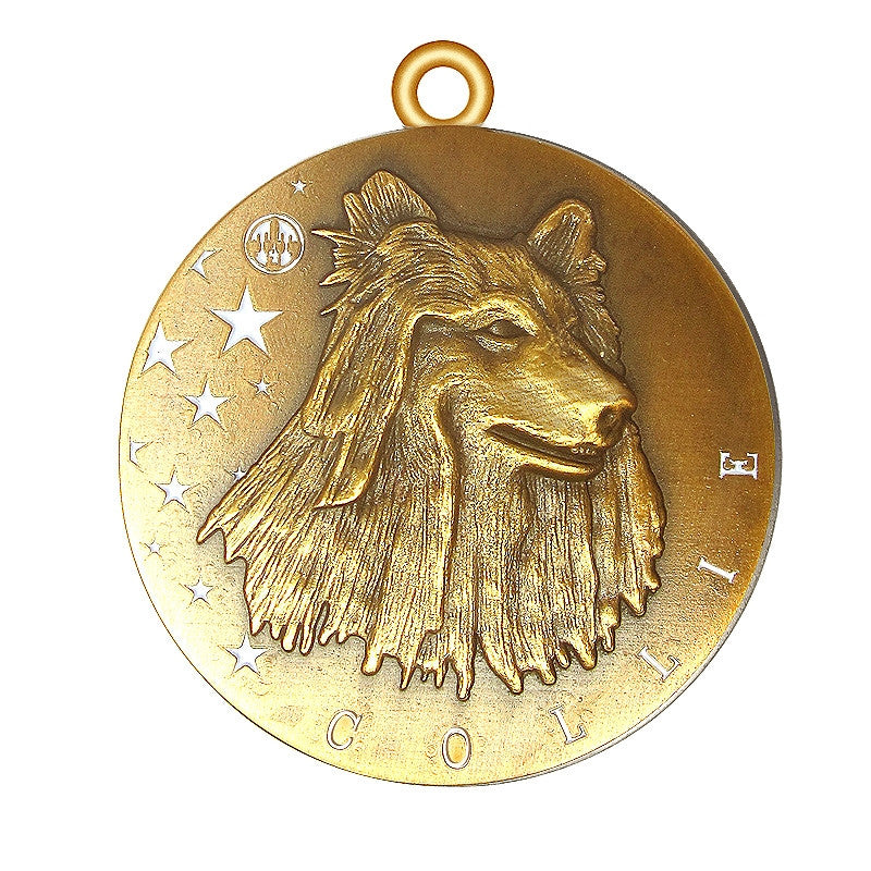 Collie Id Tag Antique Gold Finish - Tags4Tails