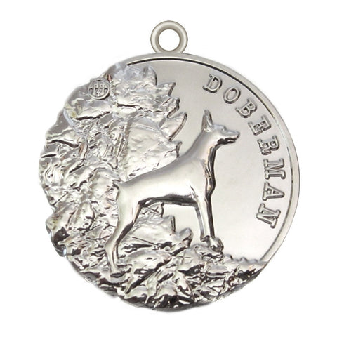 Doberman Dog Id Tag Silver Finish - Tags4Tails