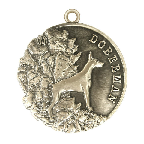 Doberman Dog Id Tag Id Tag Antique Silver Finish - Tags4Tails