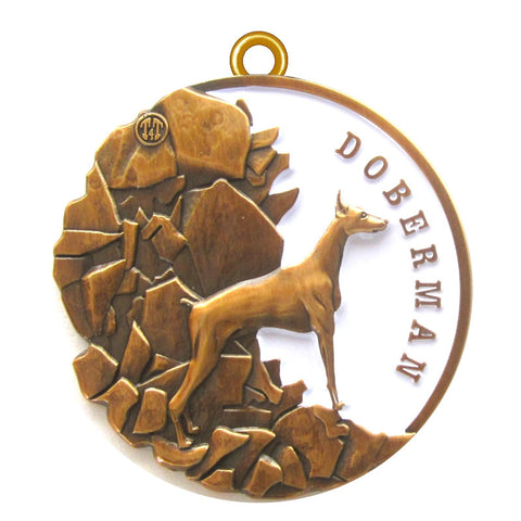 Doberman Dog Id Tag Antique Gold Finish - Tags4Tails