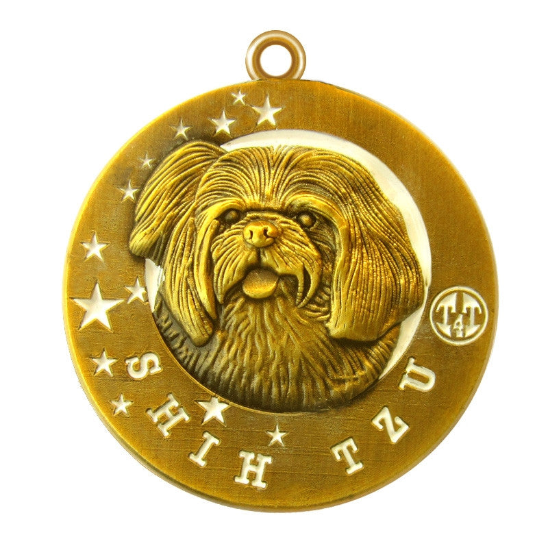 Shih Tzu Dog Id Tag Antique Gold Finish - Tags4Tails