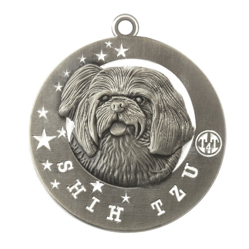 Shih Tzu Dog Id Tag Antique Silver Finish - Tags4Tails