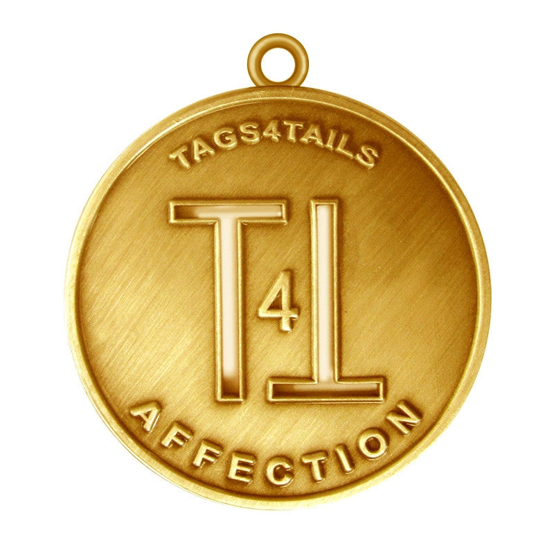 T4T Affection Dog Id Tag Antique Gold Finish - Tags4Tails