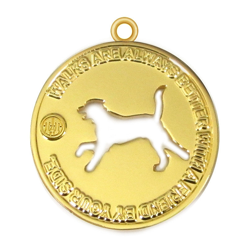 Walk with a Friend Dog Id Tag Gold Finish - Tags4Tails