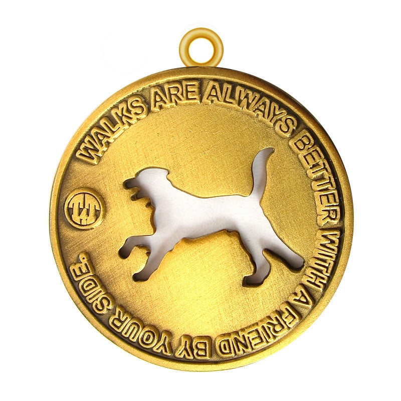 Walk with a Friend Dog Id Tag Antique Gold Finish - Tags4Tails