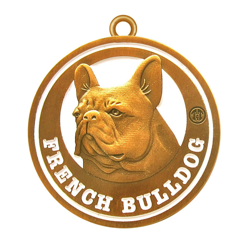 French Bulldog Antique Gold Finish Dog Id Tag - Tags4Tails
