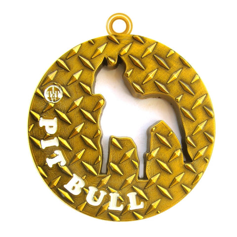 Pit Bull Dog Id Tag Antique Gold Finish - Tags4Tails
