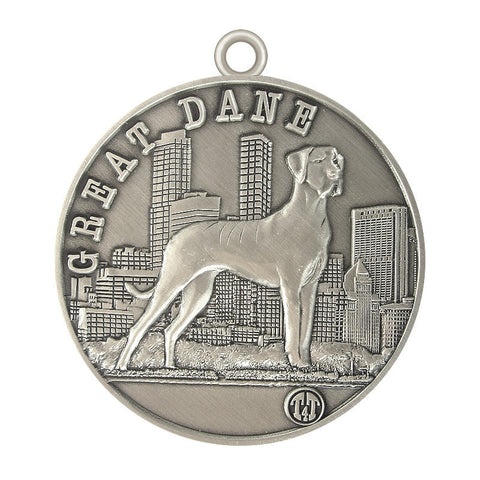Great Dane Dog Id Tag Antique Silver Finish - Tags4Tails