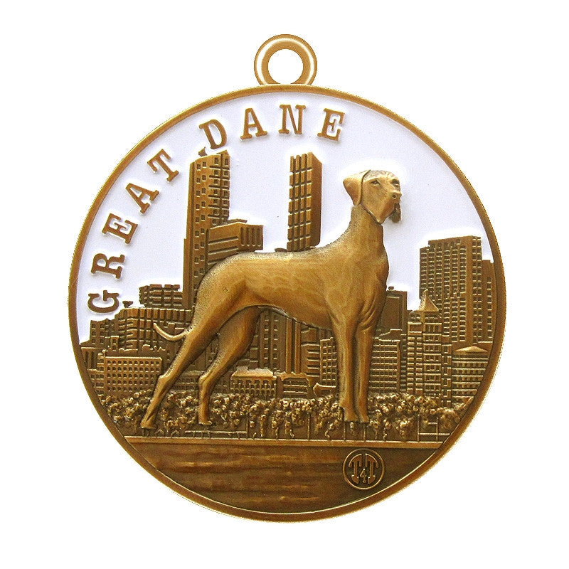 Great Dane Dog Id Tag Antique Gold Finish - Tags4Tails