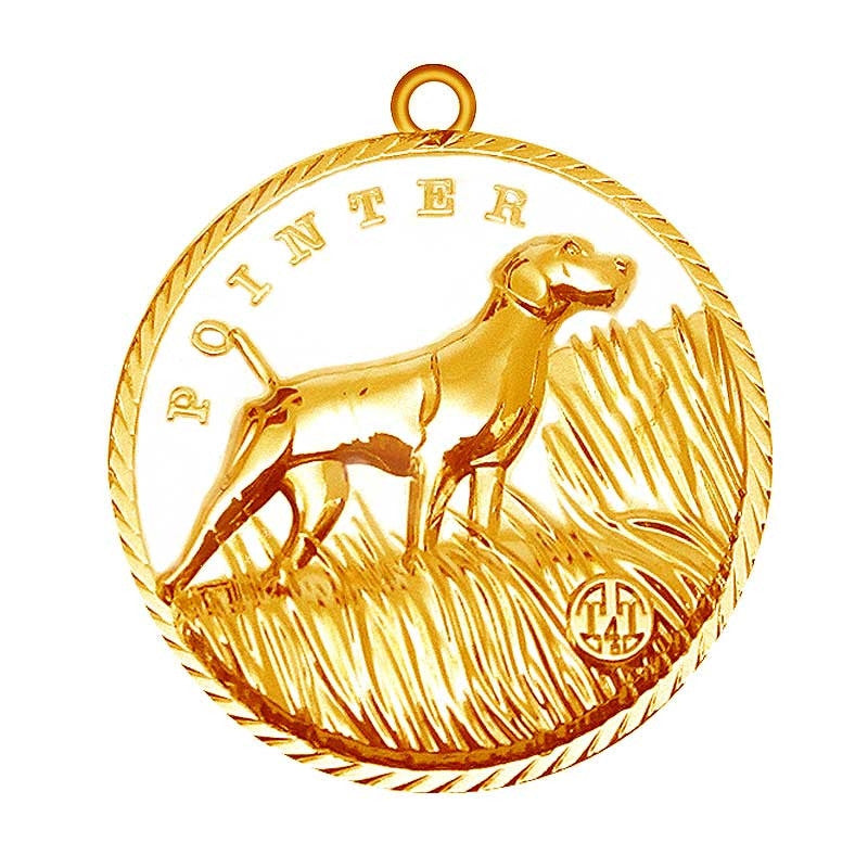 Pointer Dog Id Tag Gold Finish - Tags4Tails