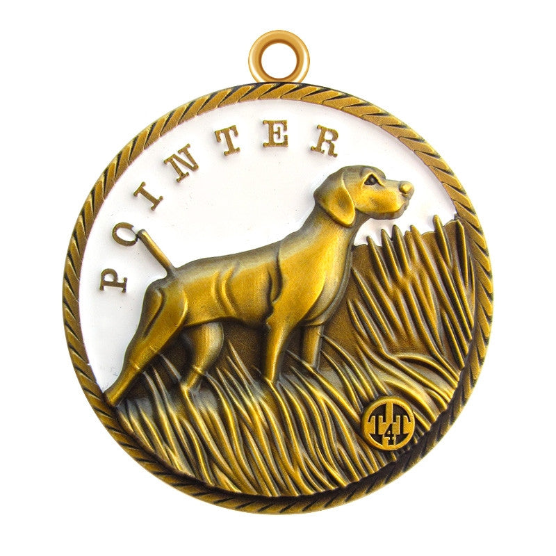 Pointer Dog Id Tag Antique Gold Finish - Tags4Tails