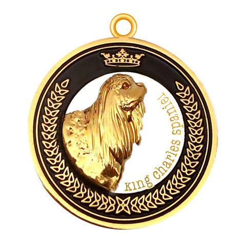 King Charles Spaniel Dog Id Tag Gold Finish - Tags4Tails