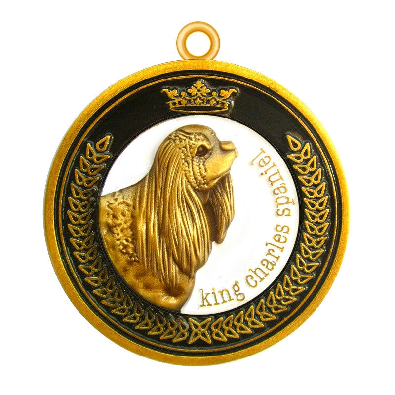 King Charles Spaniel Dog Id Tag Antique Gold Finish - Tags4Tails