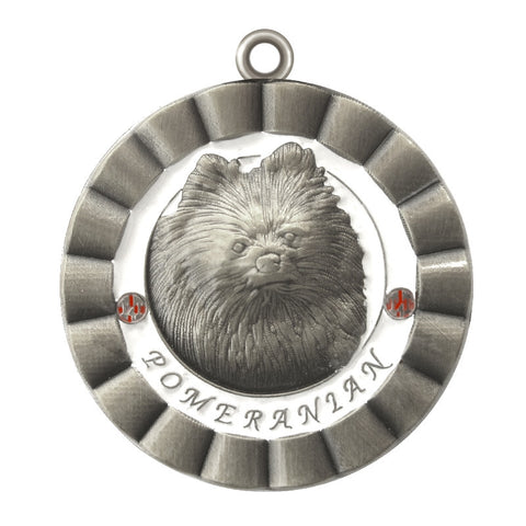 Pomeranian Dog Id Tag Antique Silver Finish - Tags4Tails