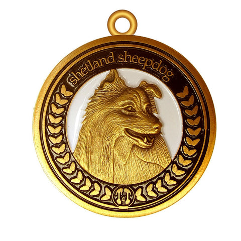 Shetland Sheepdog Dog Id Tag Antique Gold Finish - Tags4Tails