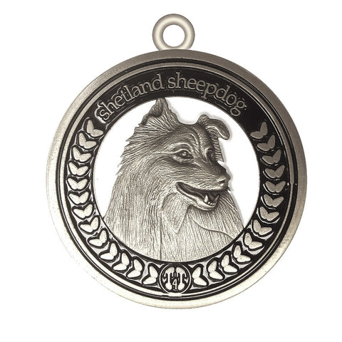 Shetland Sheepdog Id Tag Dog Id Tag Antique Silver Finish - Tags4Tails