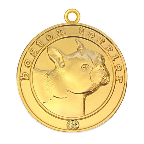 Boston Terrier Dog Id Tag Gold Finish - Tags4Tails