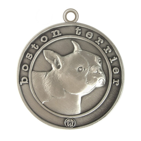 Boston Terrier Dog Id Tag Antique Silver Finish - Tags4Tails