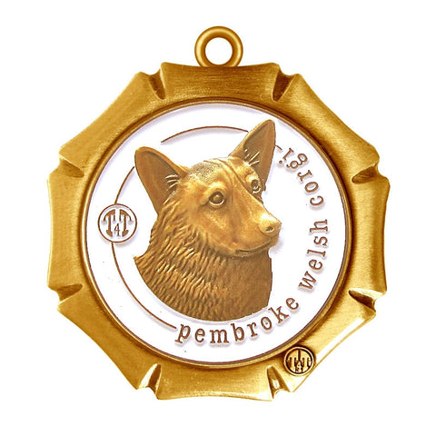 Pembroke Welsh Corgi Dog Id Tag Antique Gold Finish - Tags4Tails