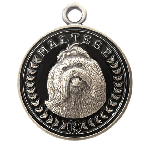 Maltese Dog Id Tag Antique Silver Finish - Tags4Tails