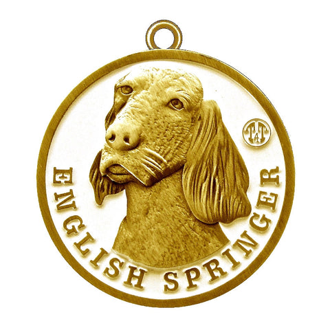 English Springer Dog Id Tag Antique Gold Finish - Tags4Tails