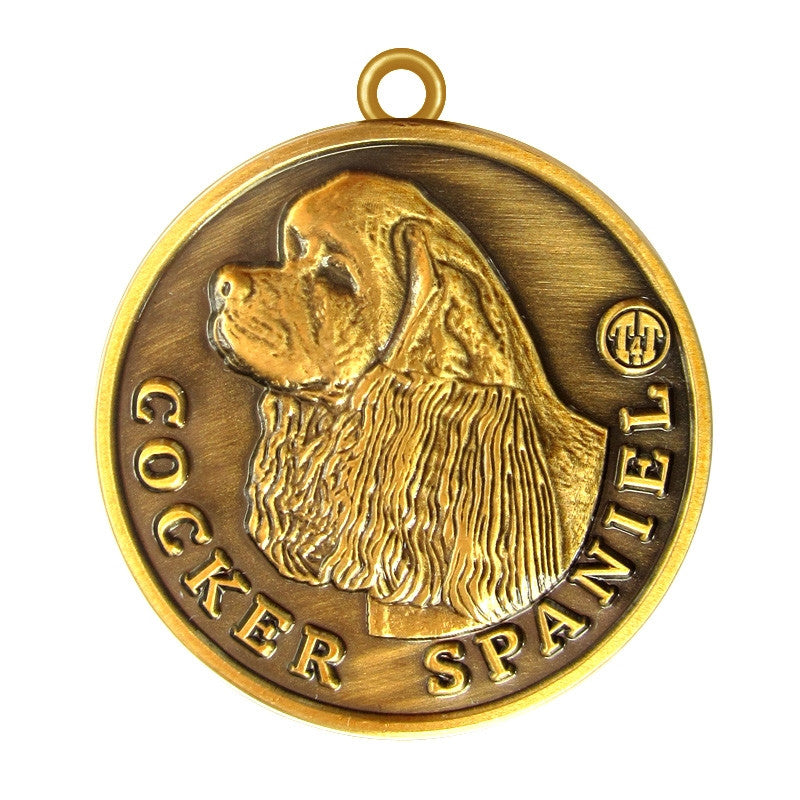 Cocker Spaniel Id Tag Antique Gold Finish - Tags4Tails