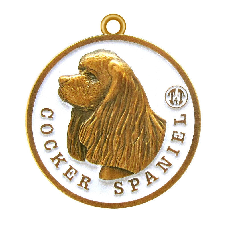 Cocker Spaniel dog Id Tag Antique Gold Finish - Tags4Tails