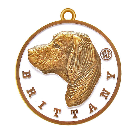 Brittany Id Tag Antique Gold Finish - Tags4Tails