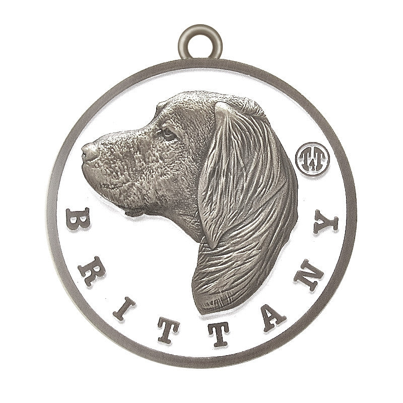 Brittany Id Tag Antique Silver Finish - Tags4Tails