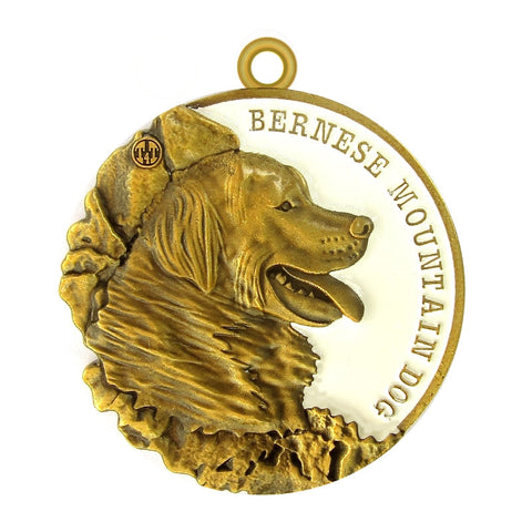 Bernese Mountain Dog Dog Id Tag Antique Gold Finish - Tags4Tails