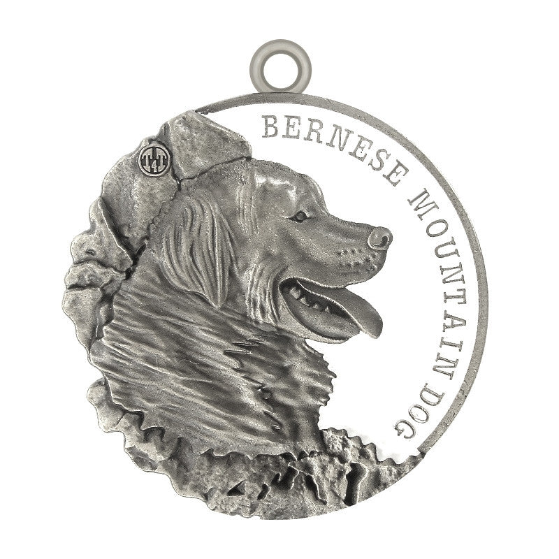 Bernese Mountain Dog Dog Id Tag Antique Silver Finish - Tags4Tails