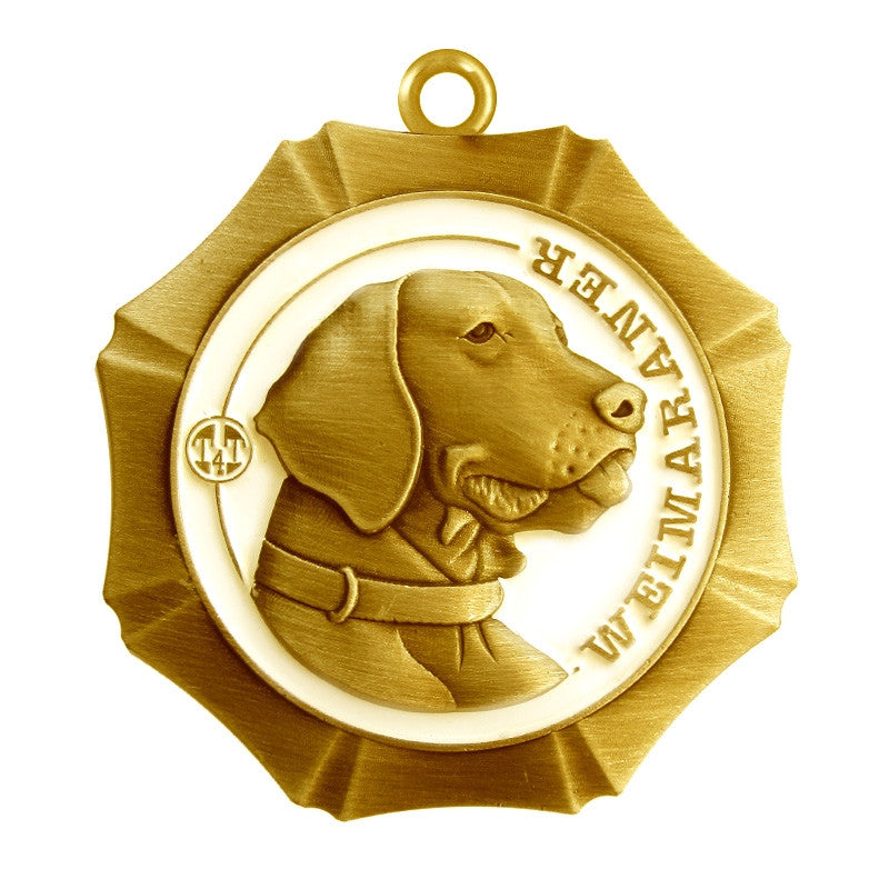 Weimaraner Dog Id Tag Antique Gold Finish - Tags4Tails