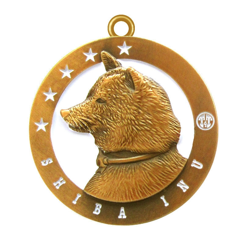 Shiba Inu Dog Id Tag Antique Gold Finish - Tags4Tails