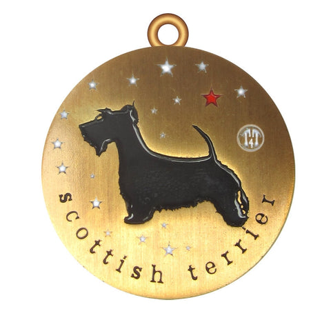 Scottish Terrier Dog Id Tag Antique Gold Finish - Tags4Tails