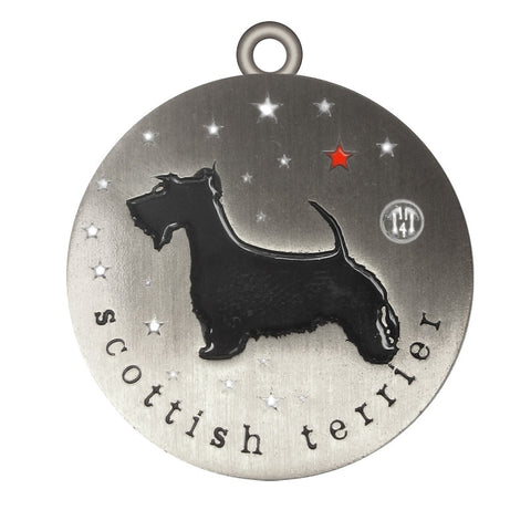 Scottish Terrier Dog Id Tag Antique Silver Finish - Tags4Tails
