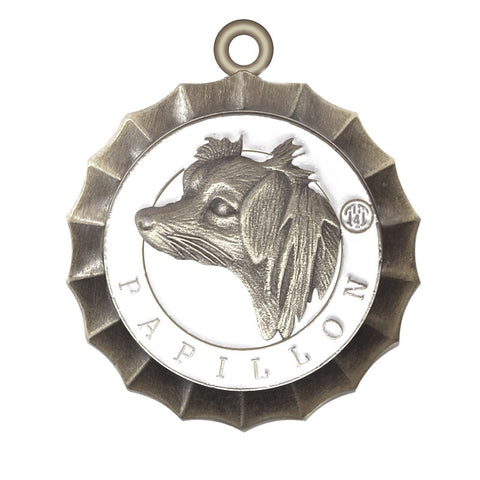Papillon Dog Id Tag Antique Silver Finish - Tags4Tails