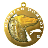 Russian Borzoi Dog Id Tag Antique Gold Finish - Tags4Tails