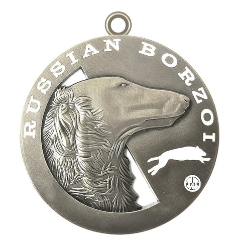 Russian Borzoi Dog Id Tag Antique Silver Finish - Tags4Tails