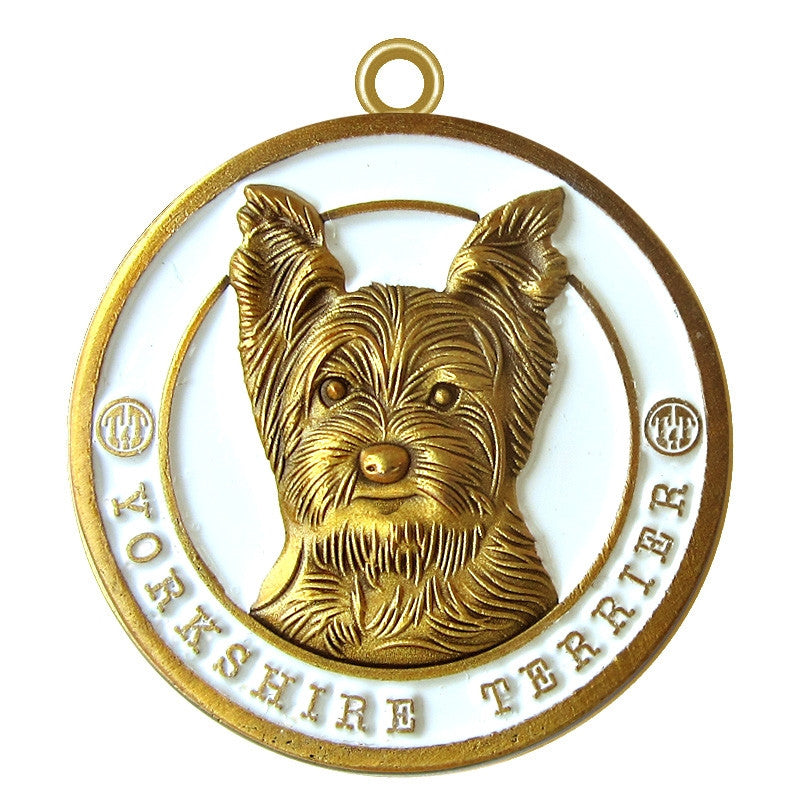 Yorkshire Terrier Dog Id Tag Antique Gold Finish - Tags4Tails