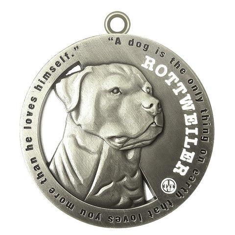 Rottweiler Dog Id Tag Antique Silver Finish - Tags4Tails