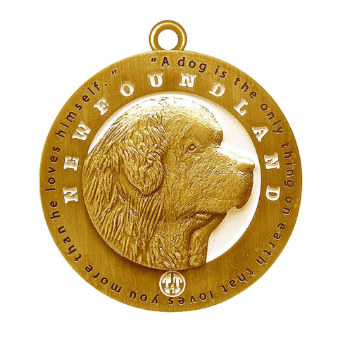 Newfoundland Dog Id Tag Antique Gold Finish - Tags4Tails