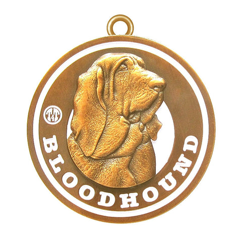 Bloodhound Dog Id Tag Antique Gold Finish - Tags4Tails