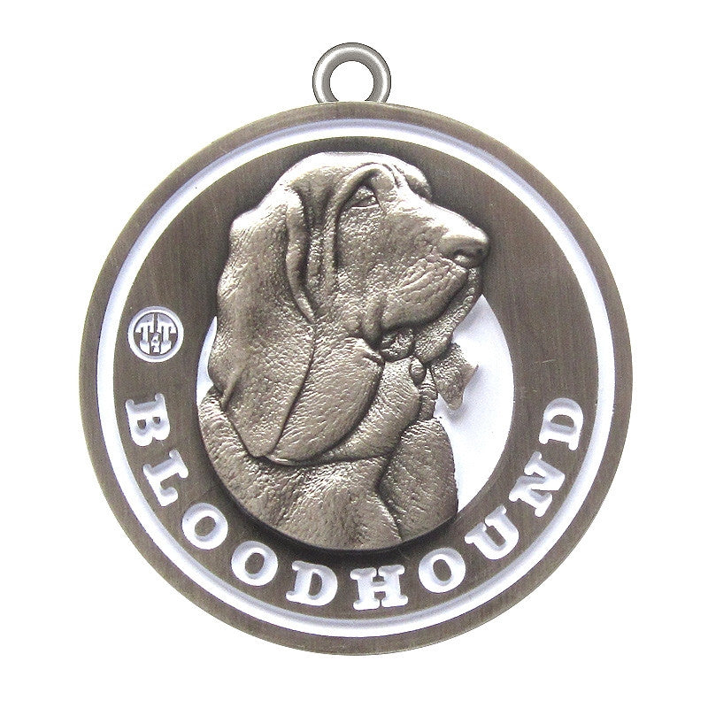 Bloodhound Dog Id Tag Antique Silver Finish - Tags4Tails