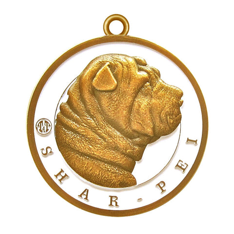 Shar-Pei Dog Id Tag Antique Gold Finish - Tags4Tails