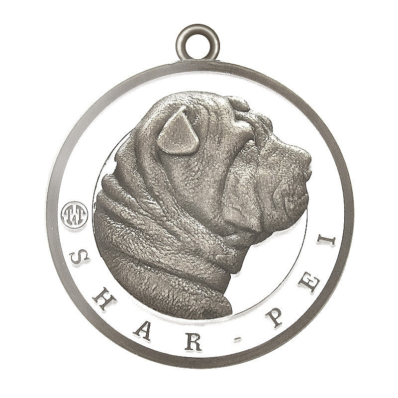 Shar-Pei Dog Id Tag Antique Silver Finish - Tags4Tails