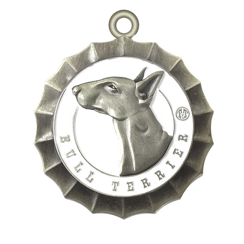 Bull Terrier dog Id Tag Antique Silver Finish - Tags4Tails