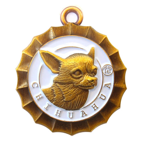 Chihuahua Dog Id Tag Antique Gold Finish - Tags4Tails