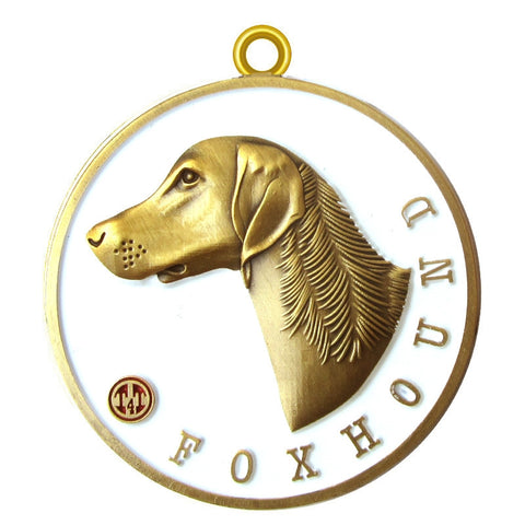 Foxhound Dog Id Tag Antique Gold Finish - Tags4Tails