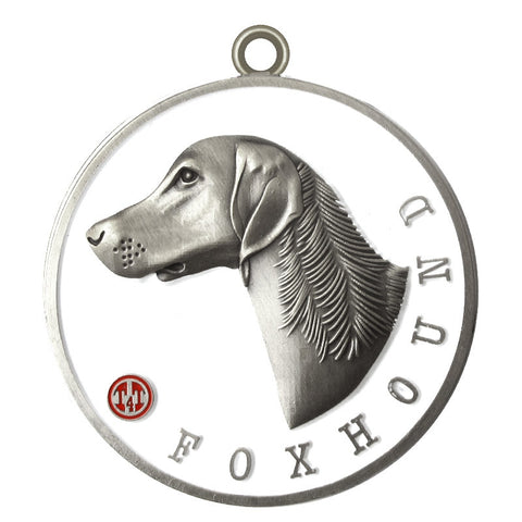 Foxhound Dog Id Tag Antique Silver Finish - Tags4Tails